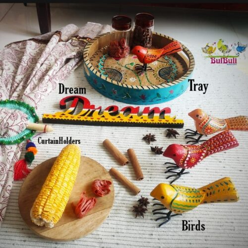 Happy Monday!   Feature here are Our Birds, Tray, CurtainHolders, Words (dream) ...